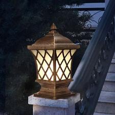 Vintage Metal Lantern Square Outdoor Pillar Lights Black/Brass Garden Coach Lamp