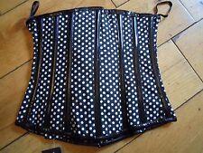 camden underbust burleska new Gothic punk rave rock corset black polka dot pvc