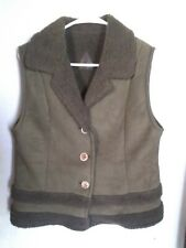 FJALL Womens Size Medium olive Suede Vest Made in USA