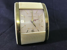 "Old Vtg Westclox Travel Alarm Clock Cream Color Gold Tone 3 1/2"" x 2 1/2"""