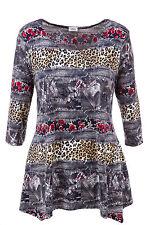 Übergröße-Hüftlang Damenblusen,-Tops & -Shirts mit Tiermuster für Freizeit