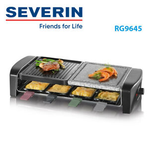 Severin Raclette Party Grill With 8 Pans Natural Stone 1400 Watts RG9645