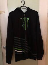 Monster Energy Mens L Hoodie Sweatshirt Full Zip Up Black Embroidered
