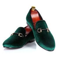 Harpelunde Men Buckle Strap Dress Wedding Shoes Green Velvet Loafers
