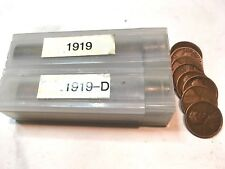 LINCOLN WHEAT CENTS 1919P, 1919D,  2 ROLLS TOTAL 100 COINS,NICE CIRCULATED SET