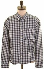 ABERCROMBIE & FITCH Mens Shirt Large Navy Blue Check Muscle  MX04