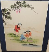 JAPANESE KIDS PLAYING ORIGINAL WATERCOLOR PAINTING SIGNED