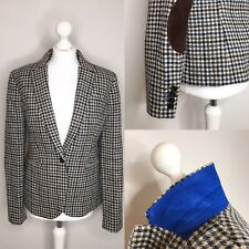 J Crew 100% Wool Check Blazer / Jacket Suede Elbow Patches Size 12