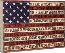 PRIMITIVE WOOD BOX SIGN~Patriotic Flag of the States~USA/Americana/4th of July