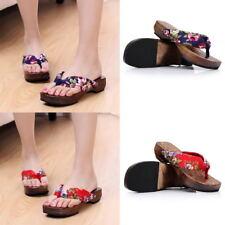 Womens Clogs Japanese Geta Wooden Flip Flops Floral Sandals Slippers Shoes ~_