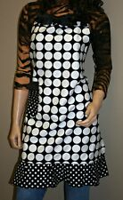 Women's Full Apron, Urban Apron with Pockets, Polka Dots Black and White