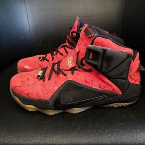 Nike Lebron 12 Red Paisley Mens Size 10 Red Basketball Shoes