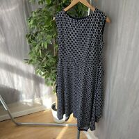 APRICOT Navy Blue Dots White SIZE 10 UK Sleeveless Flare Tie Back Dress