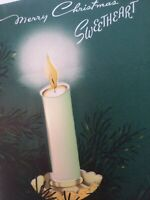 1950s Vtg SWEETHEART Satin PUFF CANDLE Norcross Unsigned CHRISTMAS GREETING CARD