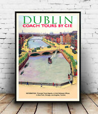 Dublin : Vintage Irish Travel advertising , poster, Wall art, reproduction.