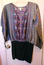 Derec Heart  Multi colored kimono sleeve pullover top size L