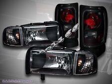 94-01 DODGE RAM 1500 / 94-02 2500/3500 BLACK HEADLIGHTS & CORNER + TAIL LIGHTS
