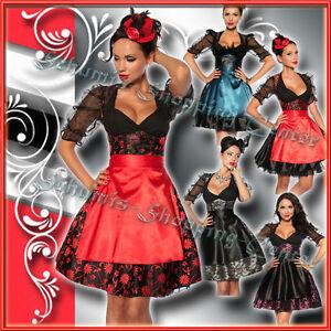 Satin Dirndl 4-tlg 34 36 38 40 42 Oktoberfest Trachtenkleid Kostüm Corsage