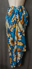 HIBISCUS COLLECTION Blue Yellow Floral SCARF SARONG WRAP