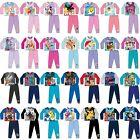 Boys Girls Kids Baby Toddler Teenage Long Sleeve Character Pyjamas pjs 1-12 Yrs