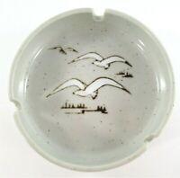 Vintage Otagiri Stoneware Ashtray Seagulls Mid Century Brown Speckled Ceramic