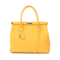Italian yellow calf leather satchel handbag ; by Vittoria Pacini; the Jane B!!