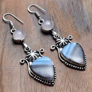 """Owyhee Opal Rose Quartz Handmade Drop Dangle Earrings Jewelry 2.72"""" AE 33604"""