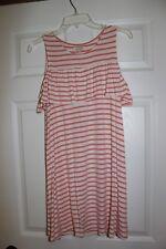 NWOT Red Camel Juniors Coral/Beige Striped Cold Shoulder Dress Size Small