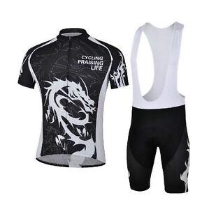 Men's Cycling Clothing Bike Short Sleelve Jersey (Bib) Shorts Kit Black Dragon