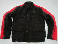 Mens 58 Dainese Watertight nylon black red padded motorcycle jacket
