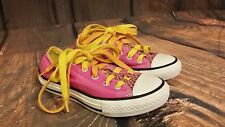 Converse Pink Yellow Canvas Low Top Baby Toddler Girl Size 12 Shoe Sneakers