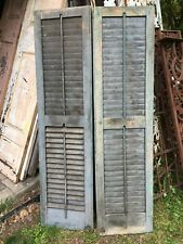 Vtg  Pair Architectural Salvage Blue Green wood  Shutters 55.5in x 14.5 Sides