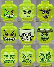 LEGO - 9x Combo Heads Trans Neon Green - Monster Ghost Faces Halloween Slime