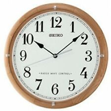 Branded Seiko QXR303Z Radio Controlled Wooden Wall Clock