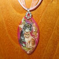 CAT pendant Cuddling CATS Genuine hand painted STONE signed Christmas Gift