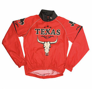 Canari Cycling Jacket wind breaker Men's Small LS Red Texas Longhorn Skull -EUC