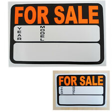 Car FOR SALE Sign Vehicle Plastic Price/ Year/ Model Black/Orange Display Notice