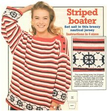 Ladies' DK Ship's Wheel Motif Striped Sailor Sweater Vintage Knitting Pattern