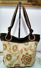 "Women's Cool Extra- Large Brown Floral Canvas ""FOSSIL"" Tote Shoulder Bag Purse"
