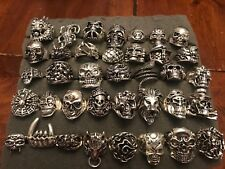 LOT OF 5 STAINLESS STEEL GOTHIC BIKER SKULL PUNK RINGS ASST SIZES MENS US SELLER
