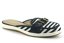 Lands' End Womens UK 5 Navy Blue Stripe Cotton Low Heel Buckle Mule Sandals