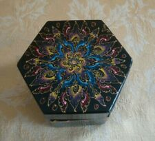 Vintage Black Lacquer Trinket Box Decorated W/ Gold Red & Blue Flora Pattern