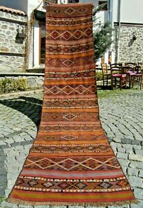 Wonderful Antique Anatolian Runner Kilim Rug Hallway Corridor Runner Kilim Rug