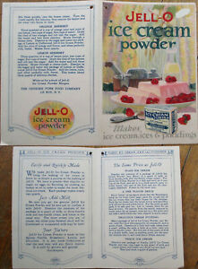 Jell-O Ice Cream Powder 1920s Advertising Booklet - L. Ball/Artist-Signed