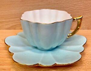 """Wileman Daisy Shape """"Turquoise"""" Pattern 4050 Coffee Cup & Saucer."""