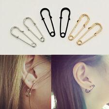 2Pcs Girls Women Unisex Punk Piercing Safety Pin Earrings Unique Stud Earrings