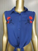 REVIVAL by DANGERFIELD SHIRT TIE FRONT EMBROIDERED BLOUSE TOP TUNIC - 6