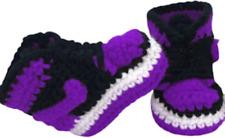 Crochet Baby Sneakers J Basketball Air Handmade Boys Girls Newborn Knit Purple
