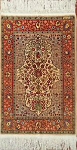 Very fine Turkish Hereke rug %100 Silk 2'1''x3' ~ 484 KPSI