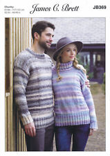 Ladies & Mens Jumper Sweater Knitting Pattern James Brett Marble Chunky JB369